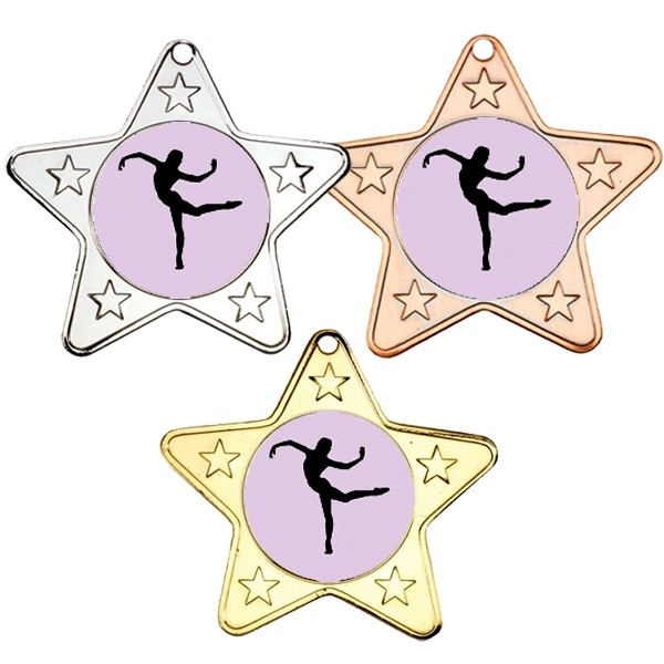 Dance Star Shaped Medals