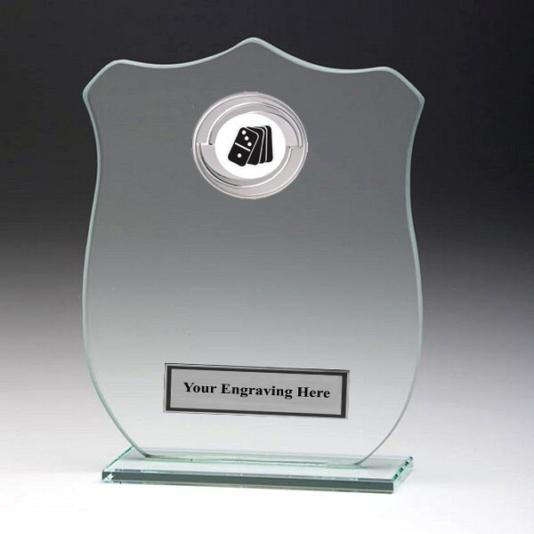 Jade Glass Shield Plaque with Dominoes Insert