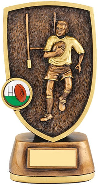 Bronze Rugby Shield Trophy