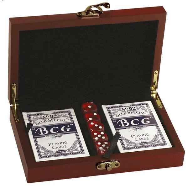 Rosewood Finish Card & DIce set