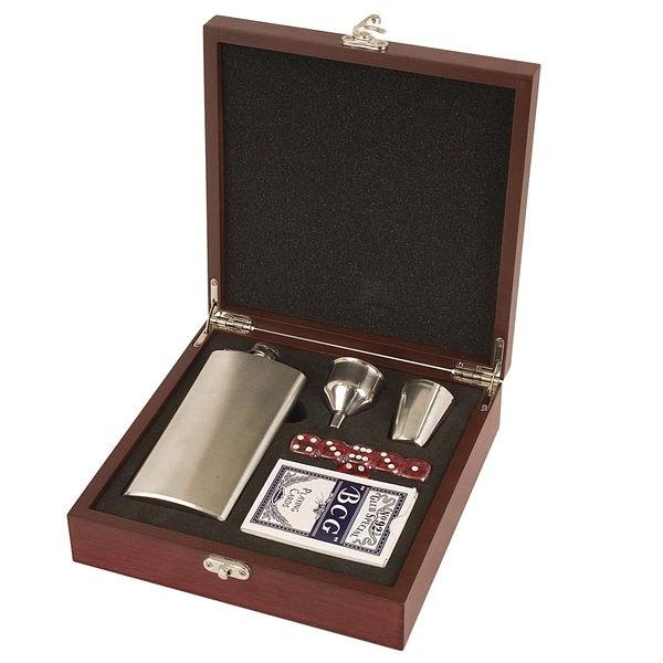 Rosewood Finish Flask Set