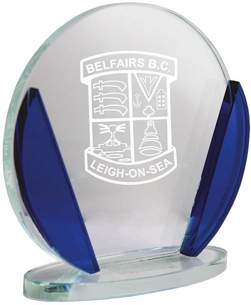 Circle Glass Award with Blue Detail