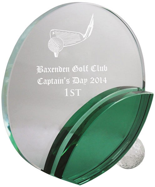 Circle Glass Award with Green Detail
