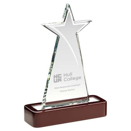 Clear Glass Tall Star with Silver Highlights and Wooden Base