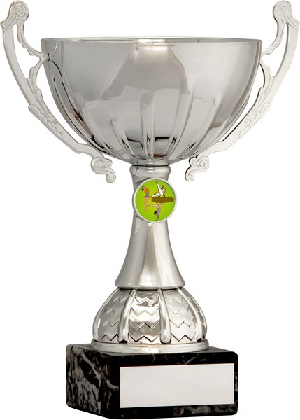Silver Cup Trophy with Gymnastics Insert