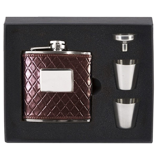 Vision Brown leather wrapped Flask