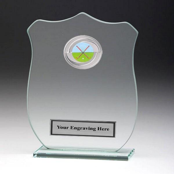 Jade Glass Shield Plaque with Hockey Insert