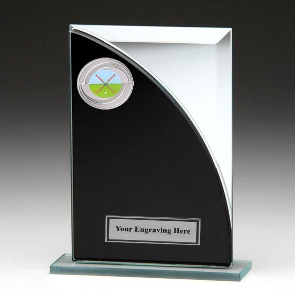 Black & Silver Glass Award with Hockey Insert