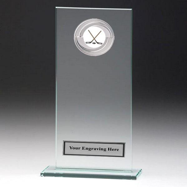Jade Glass Gladiator Plaque with Ice Hockey Insert