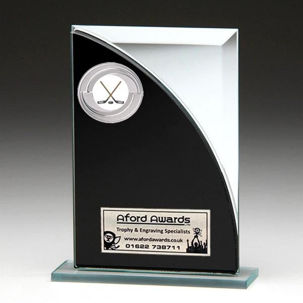 Black & Silver Glass Award with Ice Hockey Insert