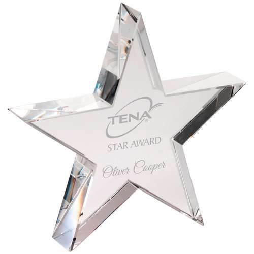 Clear Glass Freestanding Star Plaque with Presentation Case