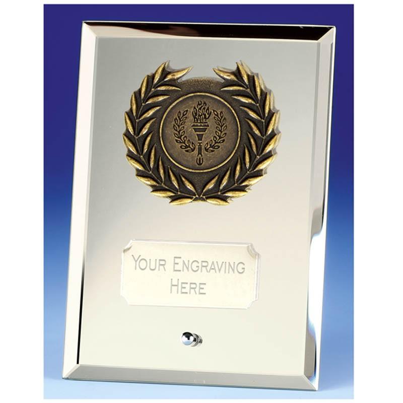 Crest Mirror Silver Plaque