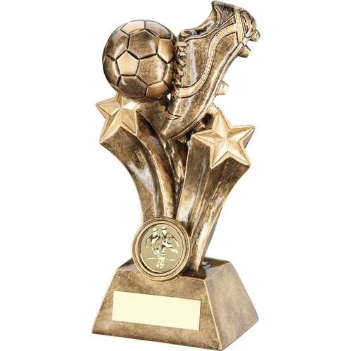 Bronze/Gold Resin Football Boot and Ball on Stars Trophy