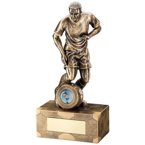 Bronze/Gold Male Football Figure Trophy