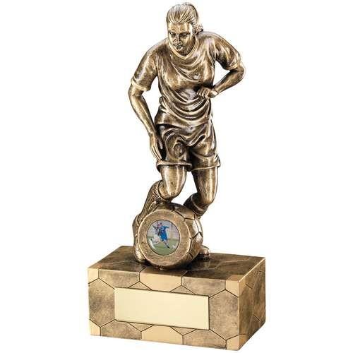 Bronze/Gold Female Football Figure Trophy