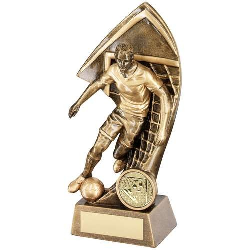 Bronze/Gold Male Footballer with Net Backdrop Trophy