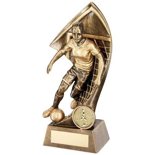 Bronze/Gold Female Footballer with Net Backdrop Trophy