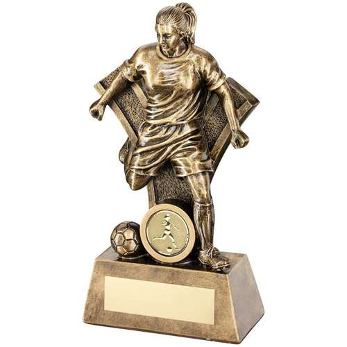 Bronze/Gold Female Football Figure with 'Y' Backdrop Trophy