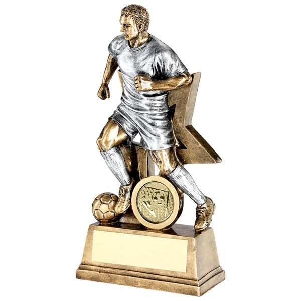 Bronze Male Football Figure With Star Backing Trophy