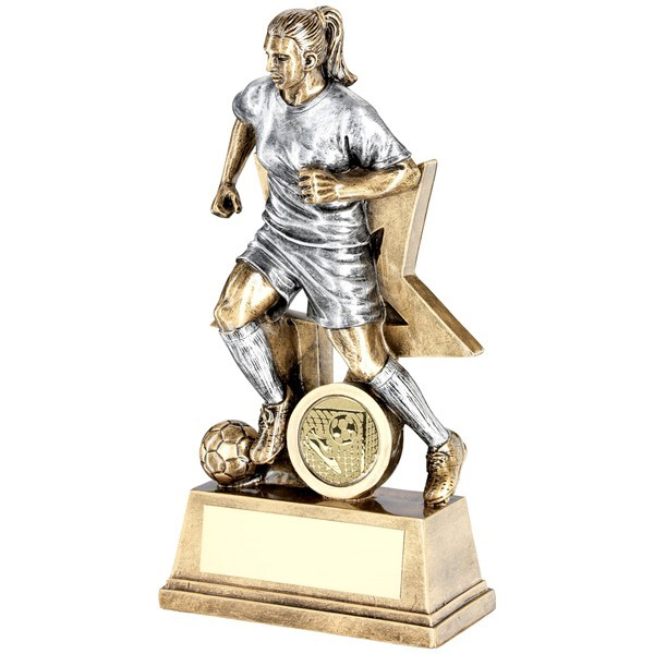 Bronze Female Football Figure With Star Backing Trophy