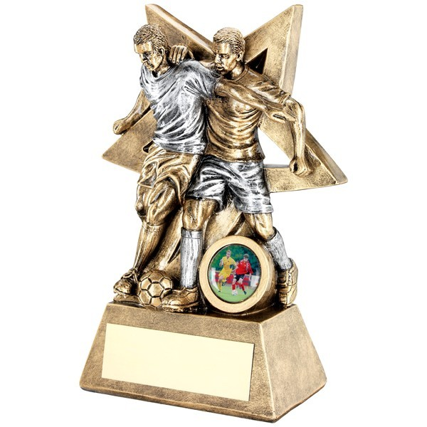 Bronze Male Double Football Figure With Star Backing Trophy