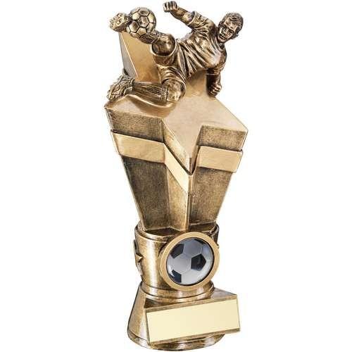 Bronze/Gold Male Footballer on Star Column Trophy