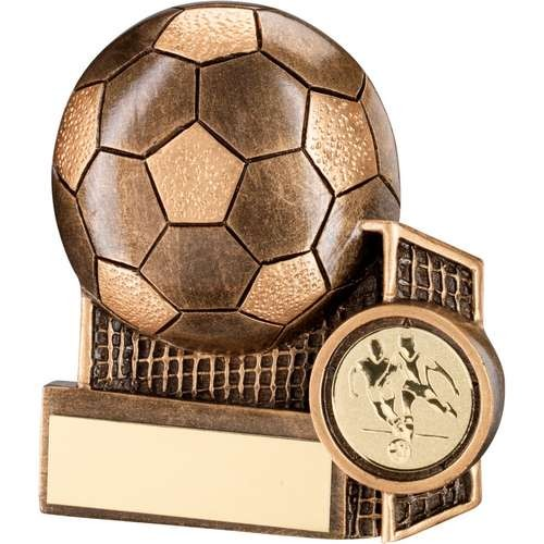 Bronze/Gold Football and Net Flatback Trophy