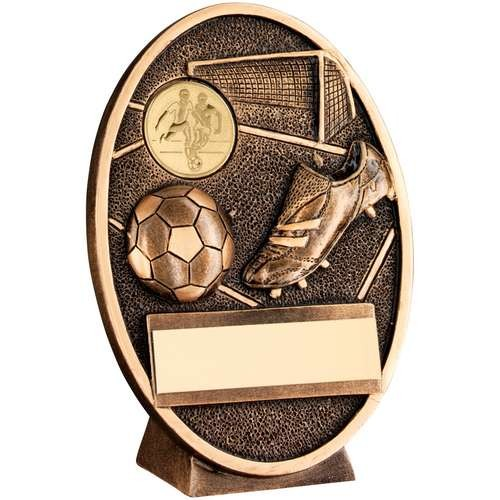 Bronze/Gold Football and Boot Oval Plaque Trophy