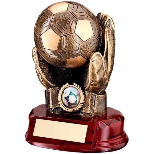 Bronze/Gold Resin Football Goalkeeper 'Ball in Hands' Trophy