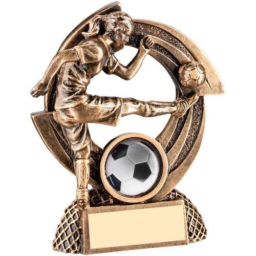 Bronze/Gold Flatback Female Football 'Quartz' Figure Trophy