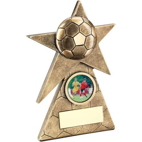 Bronze/Gold Football Star on Pyramid Base Trophy
