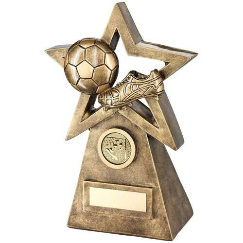 Bronze/Gold Football/Boot on Star and Pyramid Trophy