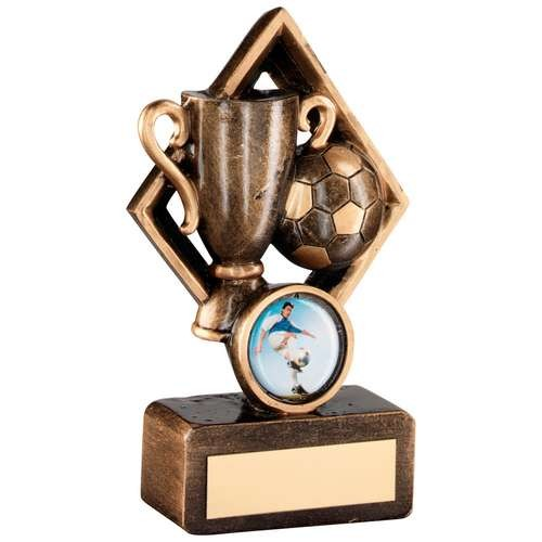 Bronze/Gold Football and Cup in Diamond Trophy