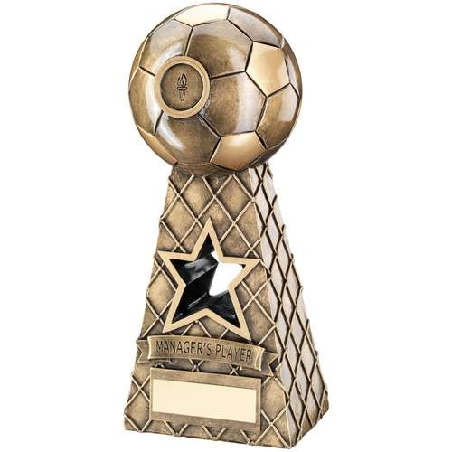 Bronze/Gold Football Net Pyramid Trophy - Managers Player