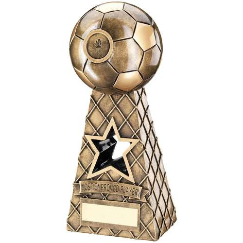 Bronze/Gold Football Net Pyramid Trophy - Most Improved