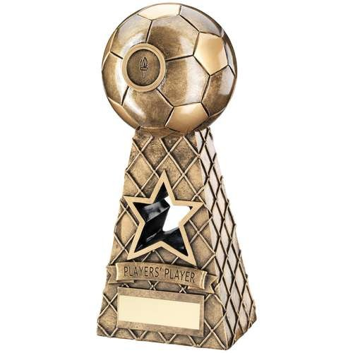 Bronze/Gold Football Net Pyramid Trophy - Players Player