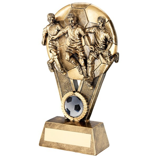 Bronze/Gold Male Multi Footballer On Ball Trophy