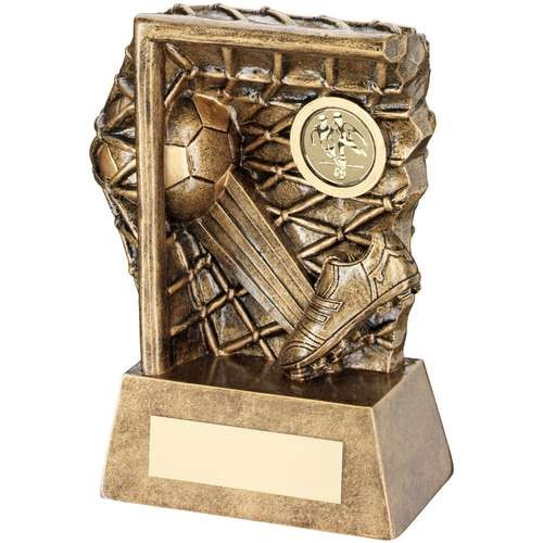 Bronze/Gold Football Kicked into Goal Trophy