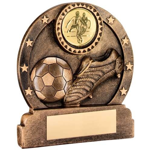Bronze/Gold Resin Round Football/Boot/Stars Trophy