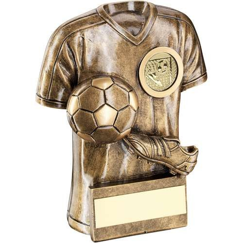 Bronze/Gold Football Trophy Shirt with Boot/Ball Trophy