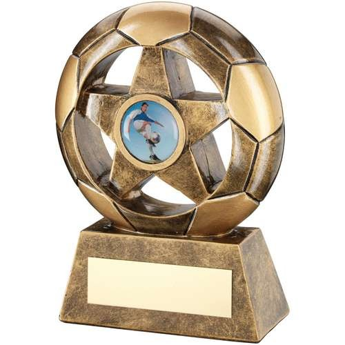 Bronze/Gold Football with Star in Hole Trophy