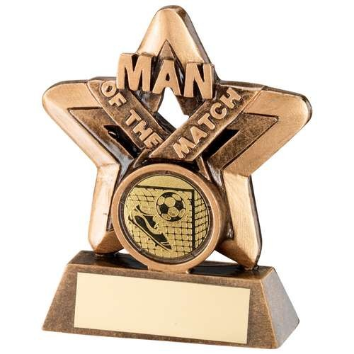 Bronze/Gold Man of the Match Mini Star Trophy