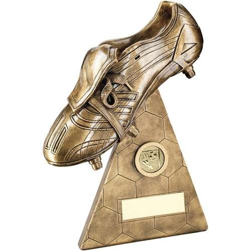 Bronze/Gold Football Boot on Pyramid Riser Trophy