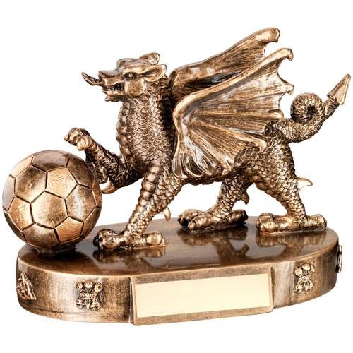 Bronze/Gold Welsh Dragon with Football Trophy