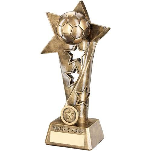 Bronze/Gold Football Twisted Star Column Trophy - Managers Player