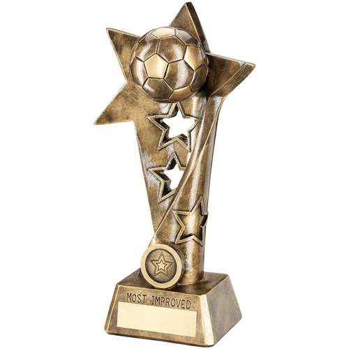 Bronze/Gold Football Twisted Star Column Trophy - Most Improved