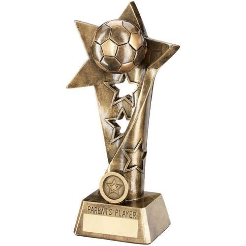 Bronze/Gold Football Twisted Star Column Trophy - Parents Player