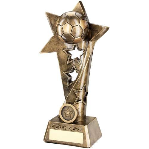 Bronze/Gold Football Twisted Star Column Trophy - Players Player