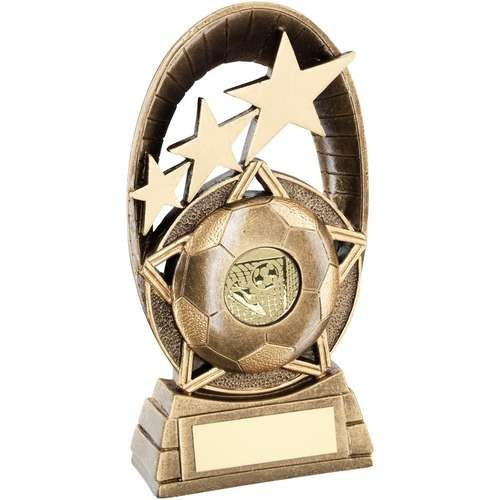 Bronze/Gold Football Tri-Star Oval Plaque Trophy