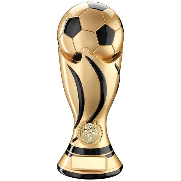 Gold/Black Football Swirl Column Trophy